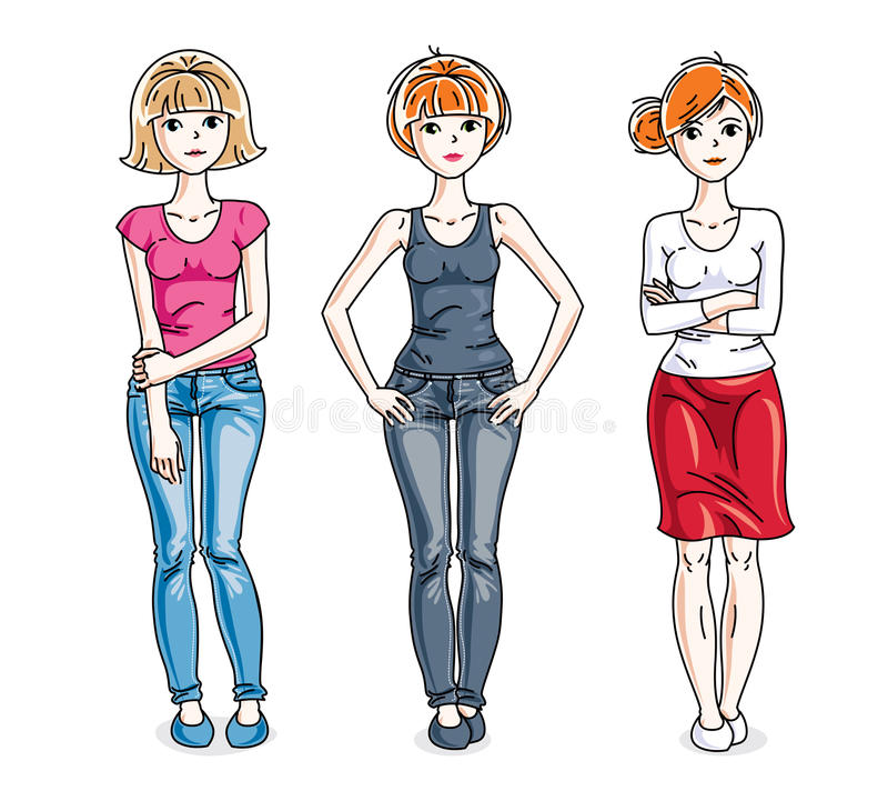 Attractive young women posing wearing casual clothes. Vector div. Ersity people illustrations set stock illustration