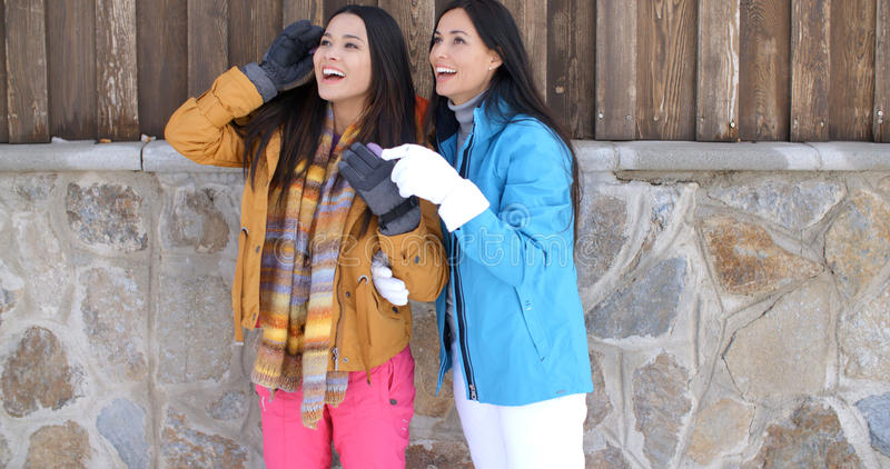 Attractive young women in stylish winter fashion royalty free stock photos