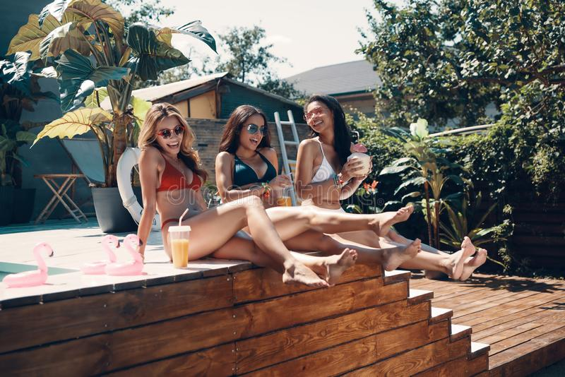 Attractive young women in swimwear royalty free stock photo