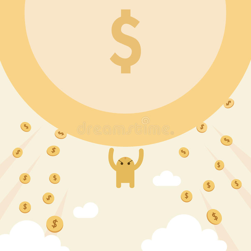 Attracts money with power. donation, marketing stock illustration