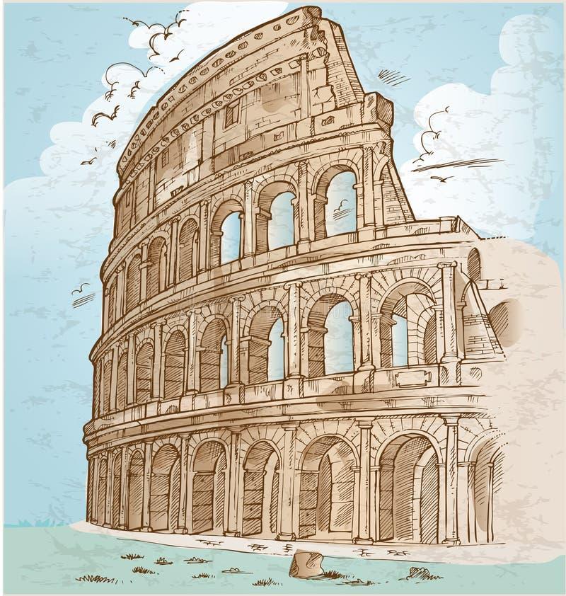Attraktion för Colosseum färghand royaltyfri illustrationer
