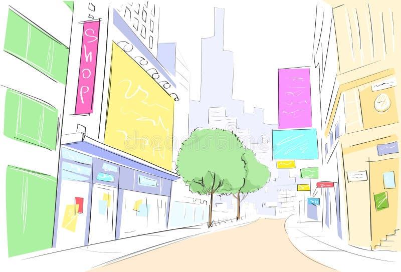 Attraktion för gatastadssikt skissar shoppar färgrikt royaltyfri illustrationer