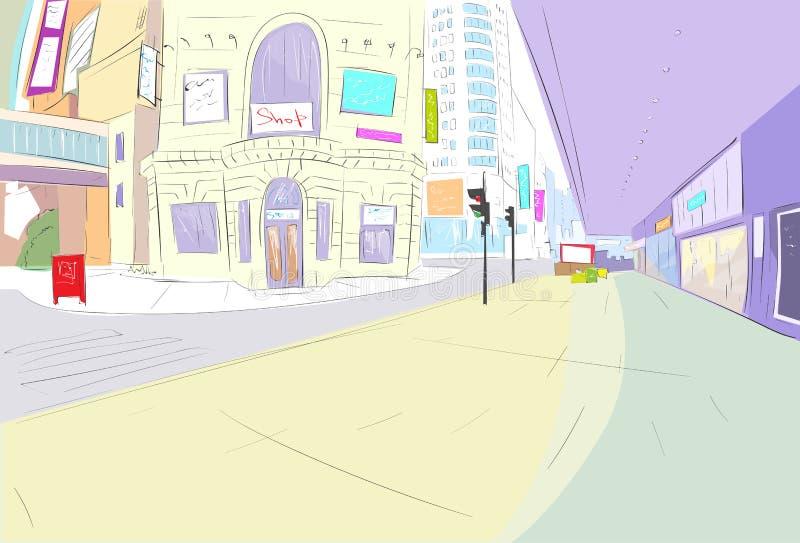 Attraktion för gatastadssikt skissar shoppar färgrikt vektor illustrationer