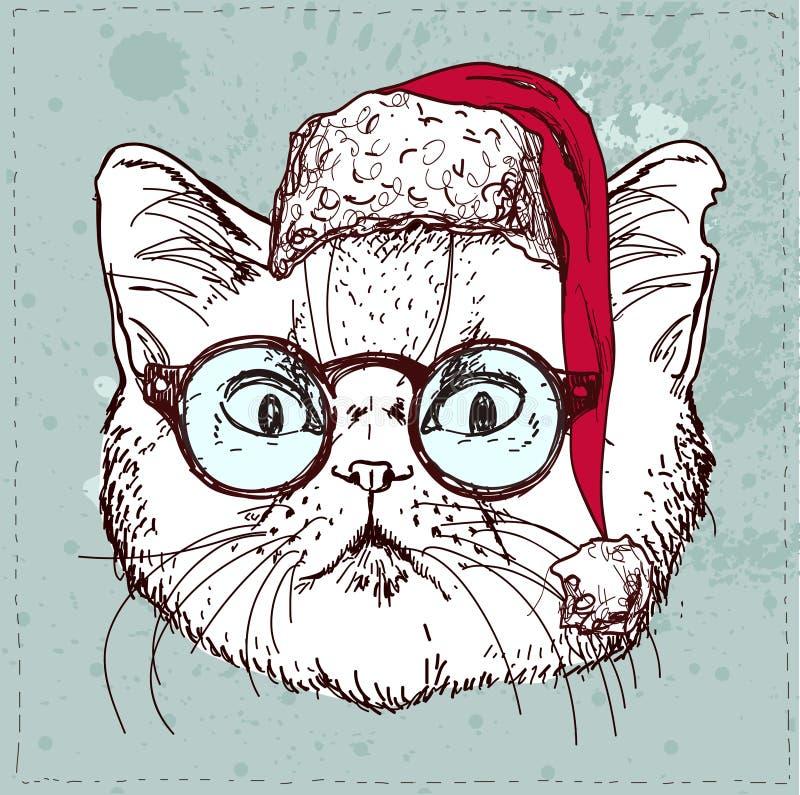 Attraktion för hand för julhipsterkatt vektor illustrationer