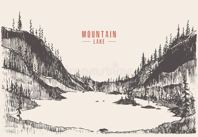 Attraktion för pinjeskog för sjö för vektorillustrationberg stock illustrationer
