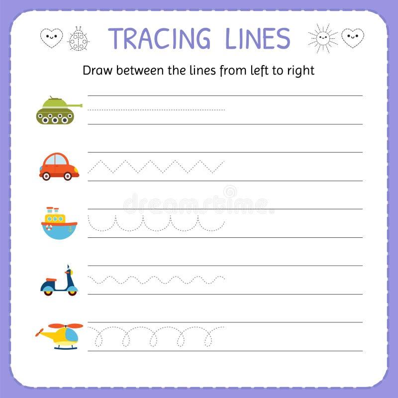 Attraktion mellan linjerna från från vänster till höger Förträning dagisarbetssedel för praktiserande motorisk expertis Grundlägg stock illustrationer
