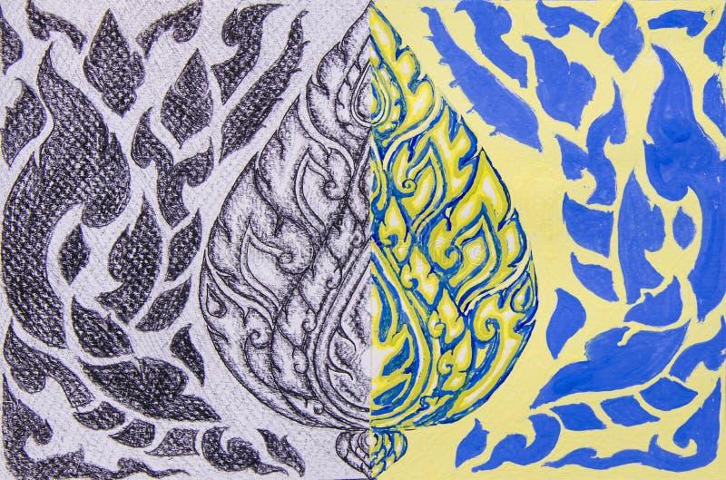 Attraktionmonokrom och vattenfärgmålningThailand konst royaltyfri illustrationer
