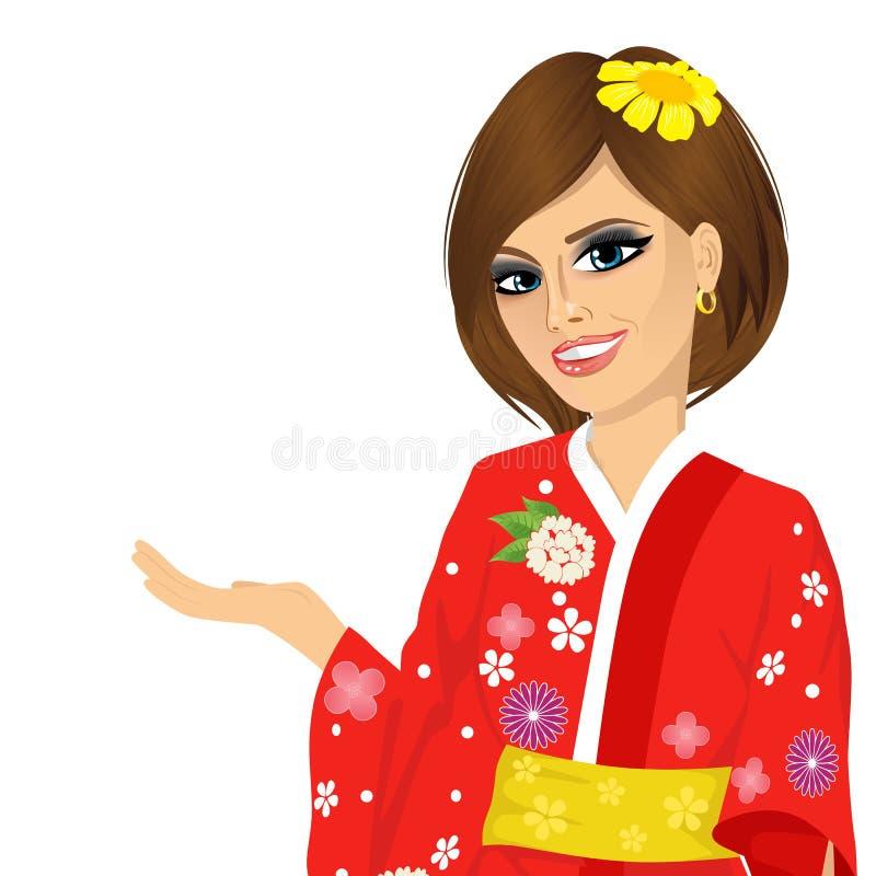 Attraktiv asiatisk japansk kvinna i röd kimono vektor illustrationer