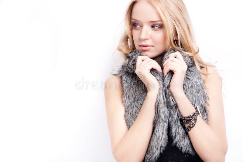 attraktiv blond modell royaltyfri bild