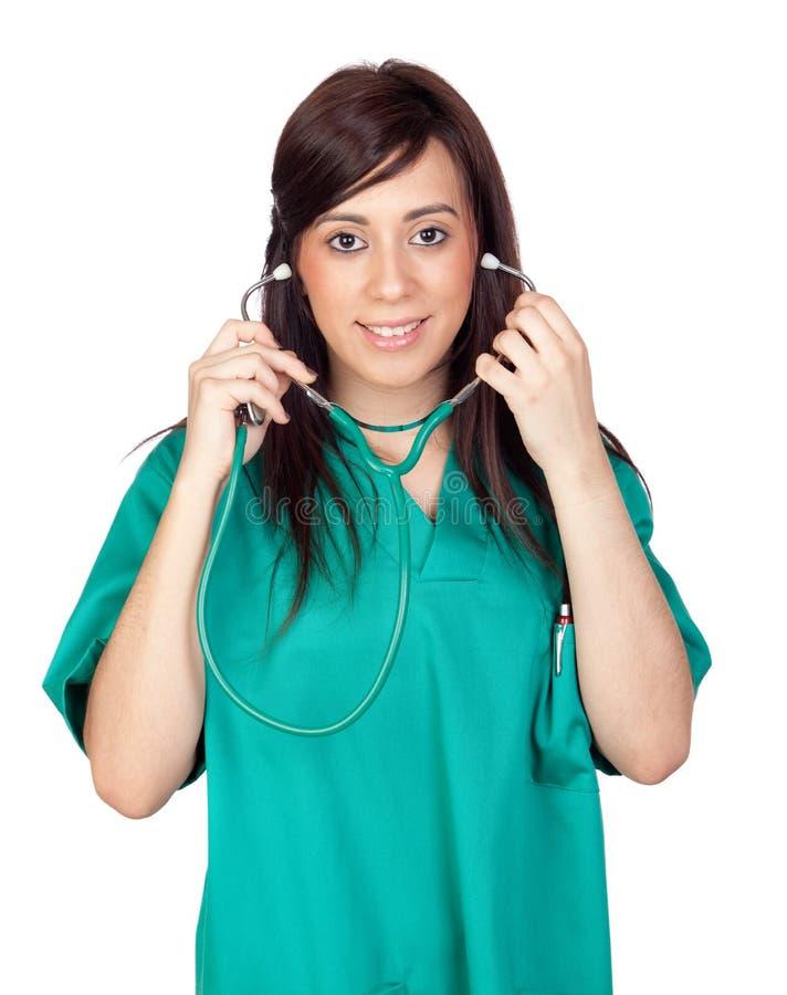 Download Attraktiv brunettdoktor fotografering för bildbyråer. Bild av sjuksköterska - 19792595