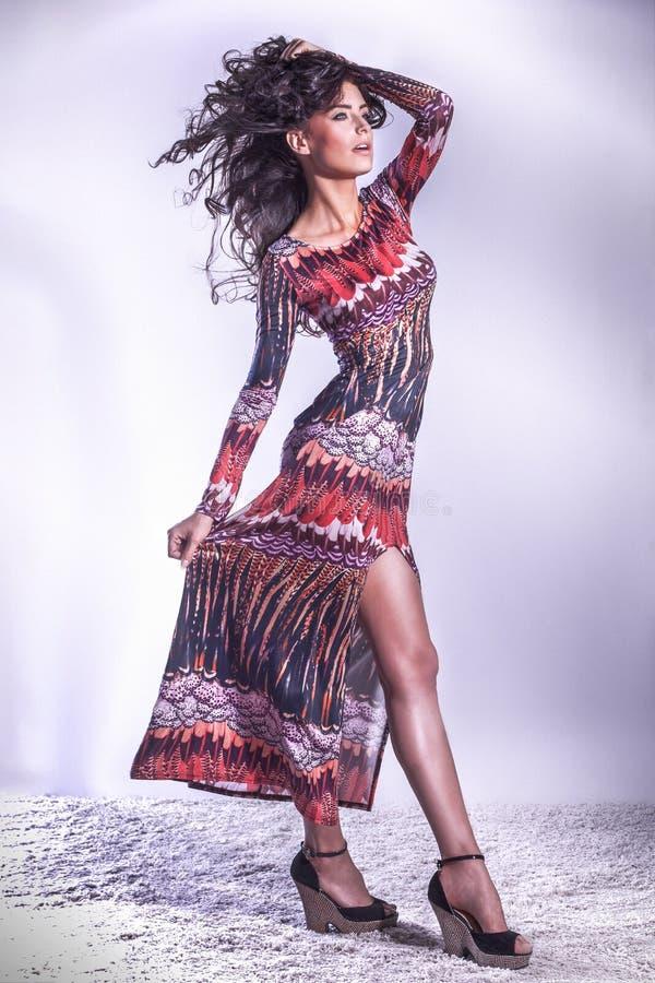 Attraktiv brunettskönhet som poserar i studio arkivfoton