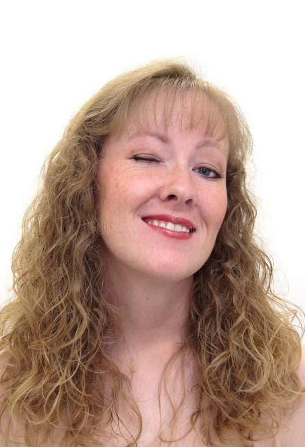 attraktiv caucasian blinka kvinna fotografering för bildbyråer