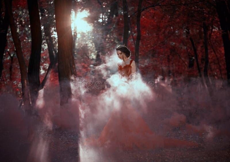 Attraktiv flicka i en röd klänning arkivfoton