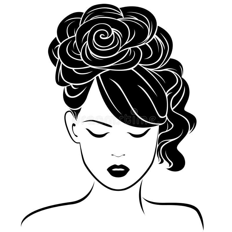 Attraktiv flicka med den höga frisyren vektor illustrationer
