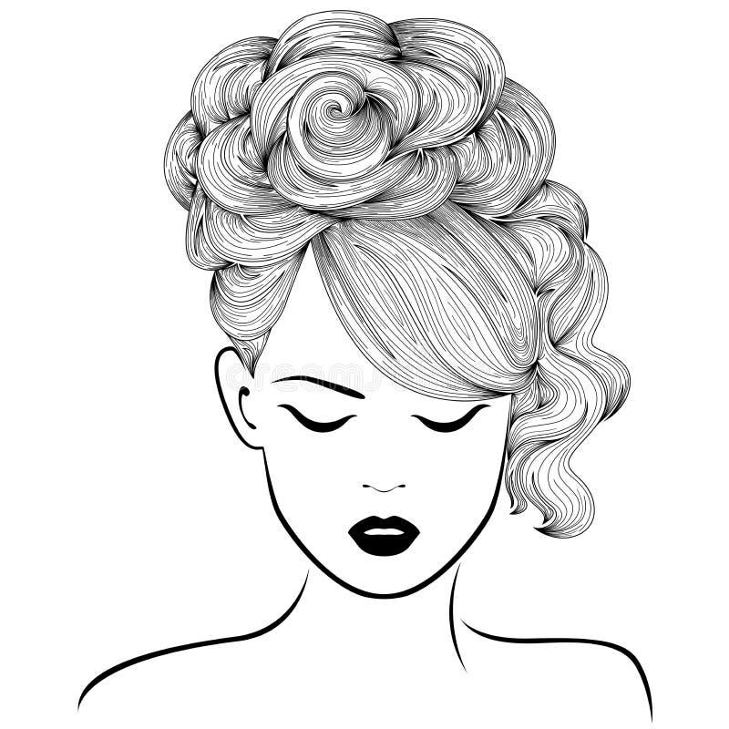 Attraktiv flicka med högt ursnyggt hår royaltyfri illustrationer