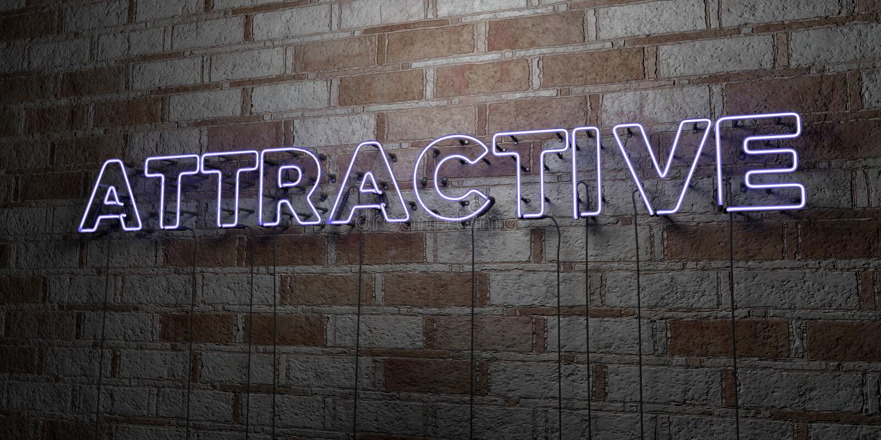 ATTRAKTIV - Glühende Leuchtreklame auf Steinmetzarbeitwand - 3D übertrug freie Illustration der Abgabe auf Lager stock abbildung