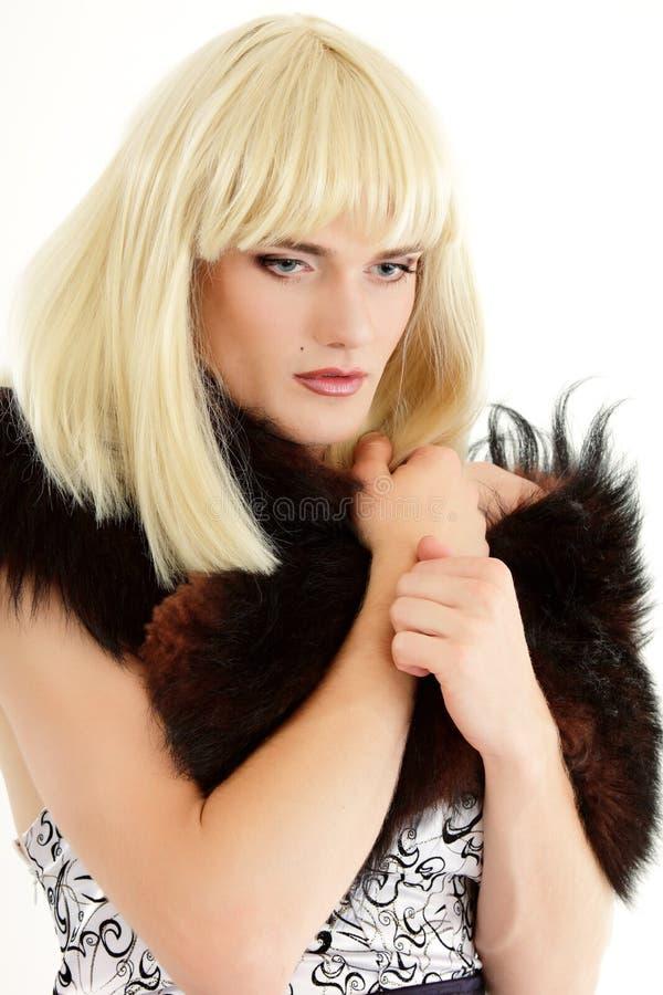 Attraktiv hon-manlig för bög makeup fotografering för bildbyråer