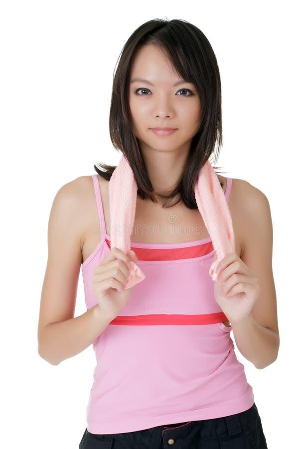 attraktiv kinesisk flickasport royaltyfri bild