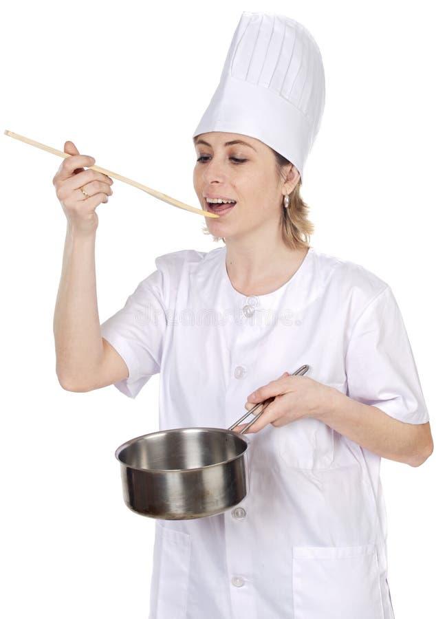 attraktiv kockkvinna royaltyfri bild