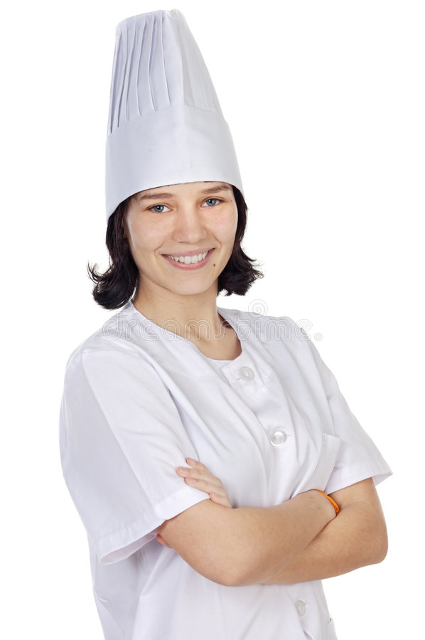 attraktiv kockkvinna royaltyfri fotografi