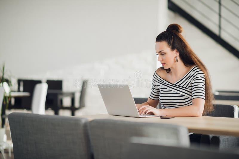 Attraktiv koncentrerad vuxen kvinna som bläddrar internet och söker information för affär under lunchtime royaltyfri foto