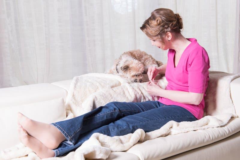 Attraktiv kvinna i lilor som matar den lilla hunden royaltyfria bilder