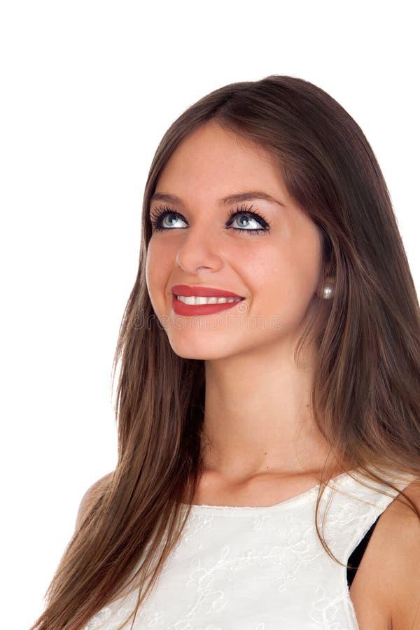 Download Attraktiv Kvinna Med Blåa ögon Som Ser Upp Arkivfoto - Bild av person, stående: 27286040