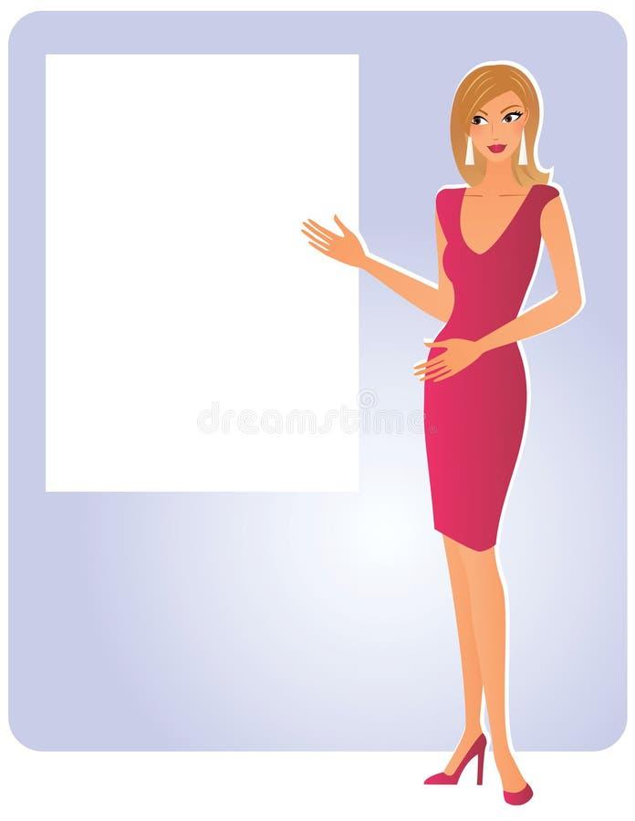 Attraktiv kvinna med brädet stock illustrationer