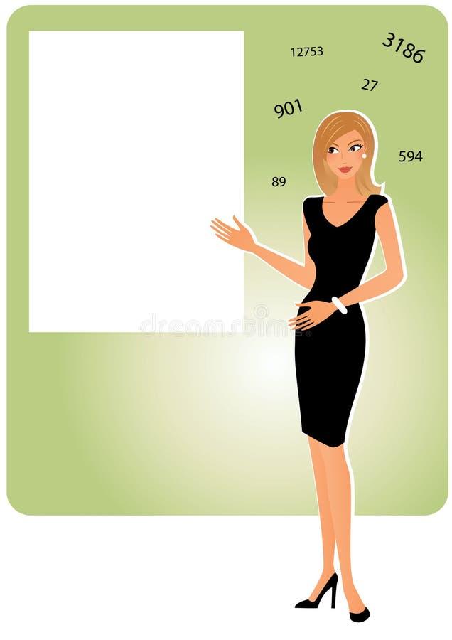 Attraktiv kvinna med brädet royaltyfri illustrationer