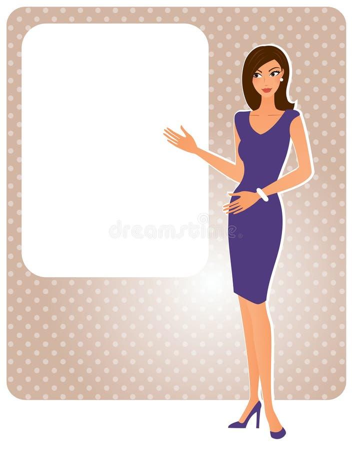 Attraktiv kvinna med brädet vektor illustrationer