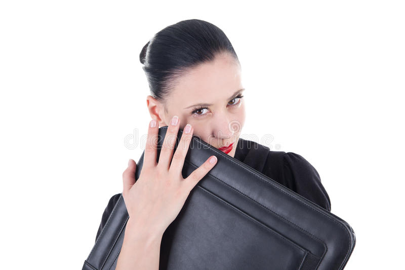 Attraktiv kvinna med läderfallet arkivbilder