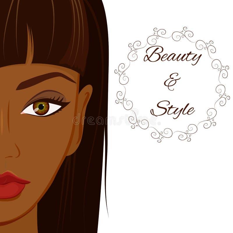 Attraktiv kvinna med mörk hud Härlig afrikan royaltyfri illustrationer