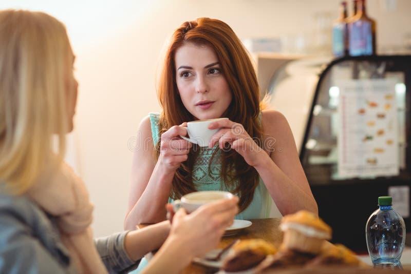 Attraktiv kvinna som talar till vännen på kafét royaltyfri bild