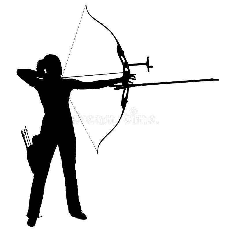 Attraktiv kvinnlig bågskytt för kontur som böjer en pilbåge och siktar i målet stock illustrationer