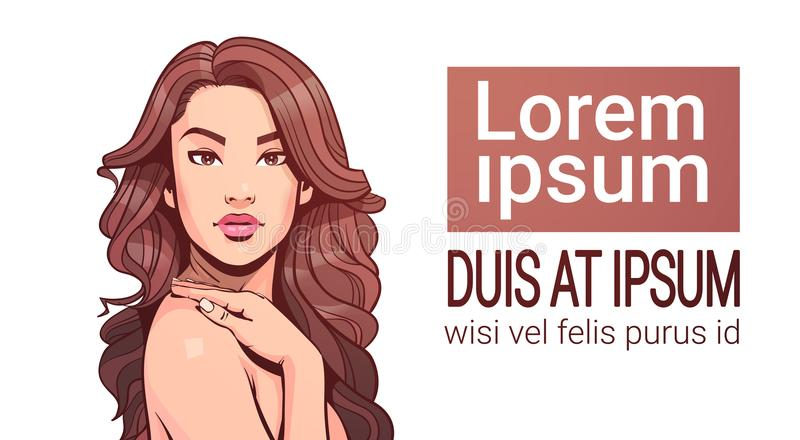 Attraktiv kvinnlig för härlig kvinnastående med långt hår över vit bakgrund med kopieringsutrymme royaltyfri illustrationer