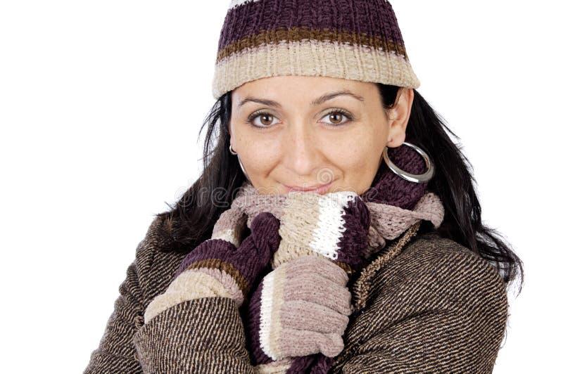 attraktiv lady beskyddad vinter arkivbild