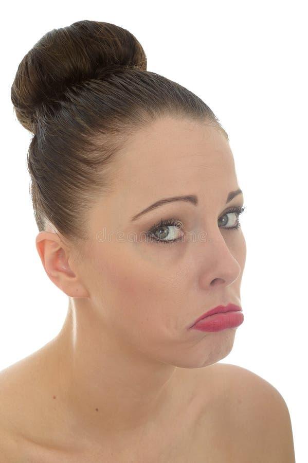 Attraktiv ledsen bedrövlig olycklig ung Caucasian kvinna i hennes Tw royaltyfri bild