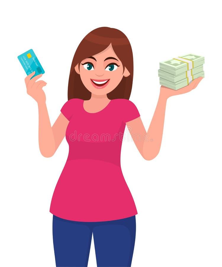 Attraktiv lycklig ung kvinna som rymmer eller visar ett krediterings-/debiteringkort, packe av kassa/pengar/valutaanmärkningar i  royaltyfri illustrationer