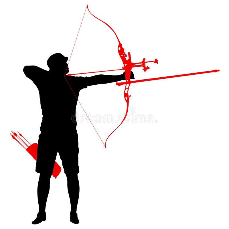 Attraktiv manlig bågskytt för kontur som böjer en pilbåge och siktar i målet stock illustrationer