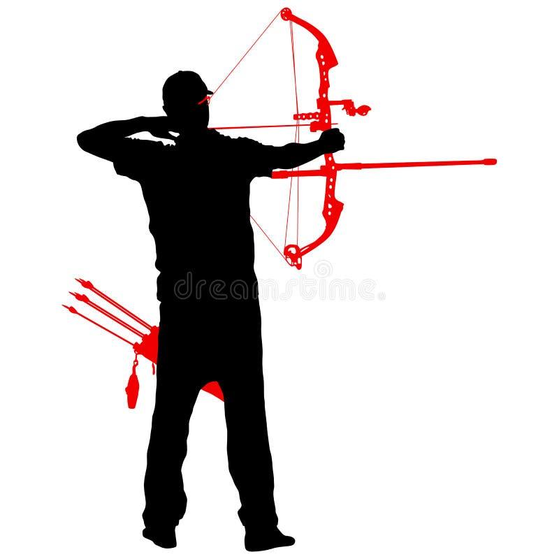 Attraktiv manlig bågskytt för kontur som böjer en pilbåge och siktar i målet royaltyfri illustrationer