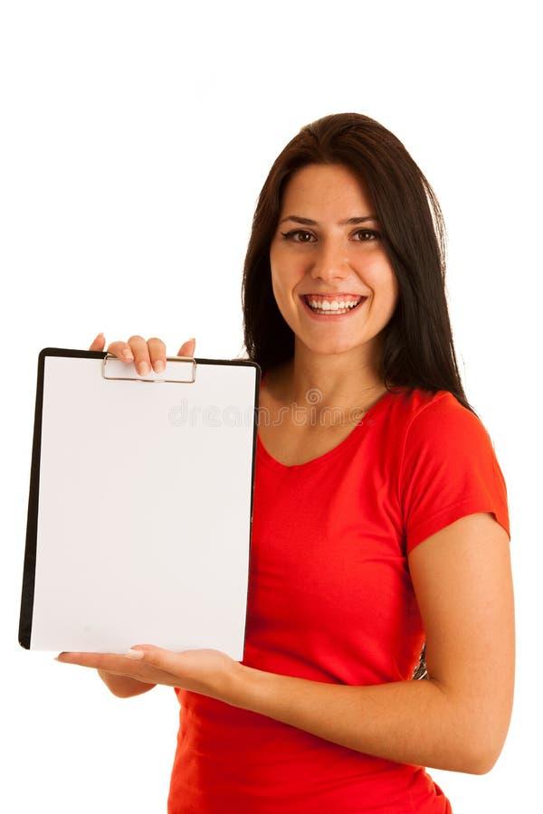 Attraktiv ung kvinna i rött med det tomma banret i henne handiso royaltyfri foto