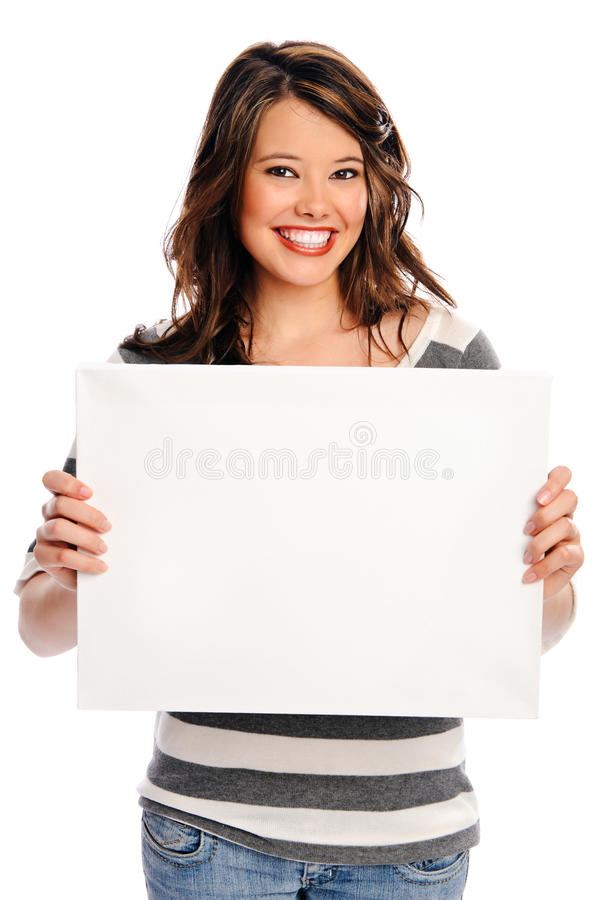 Attraktiv ung kvinna med det blanka tecknet royaltyfri bild