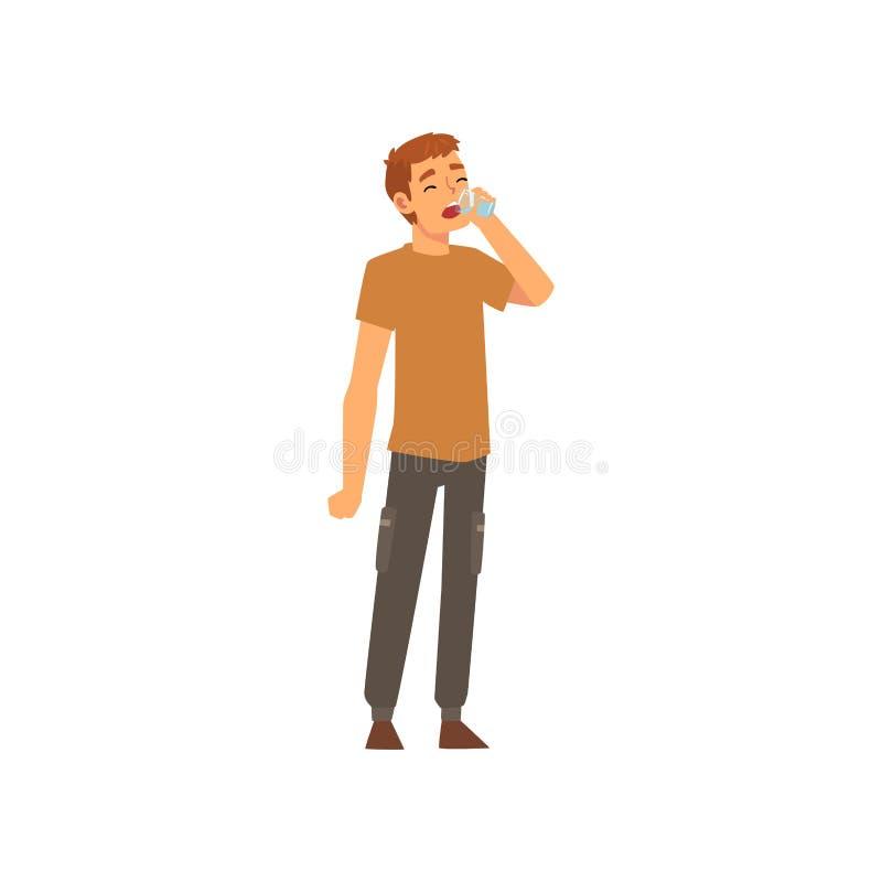 Attraktiv ung man som dricker nytt rent vatten från plast- flaskvektorillustration royaltyfri illustrationer