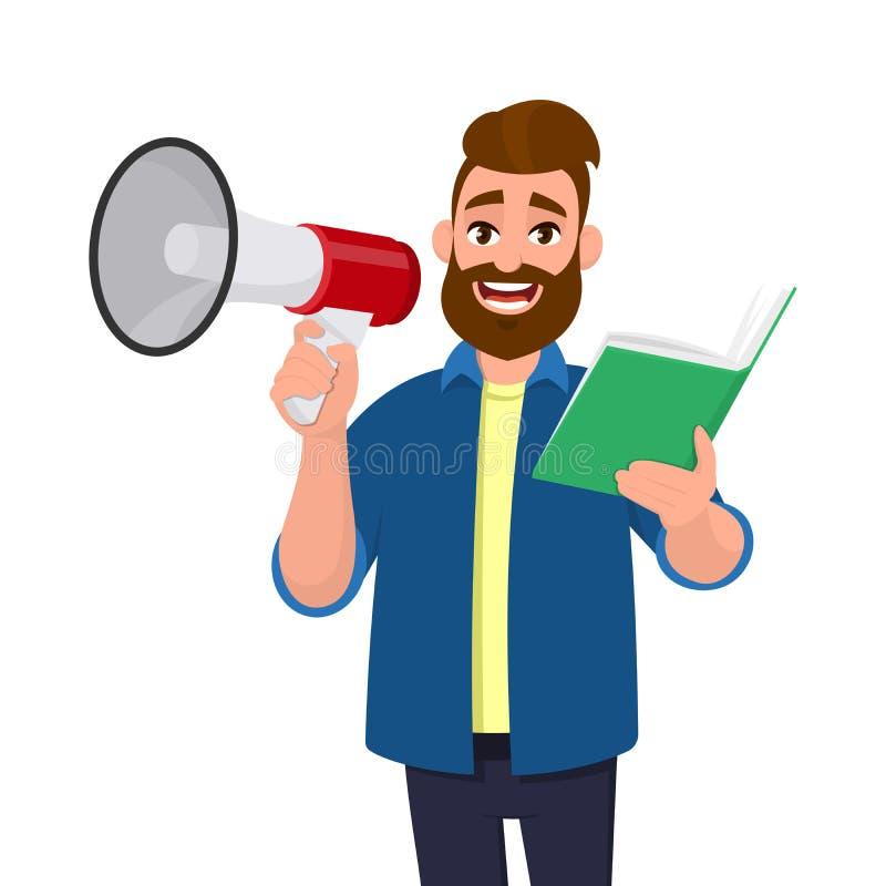 Attraktiv ung man som rymmer en megafon eller en högtalare och och rymmer eller läser en bok, dokument, mapp i hand Meddelande royaltyfri illustrationer