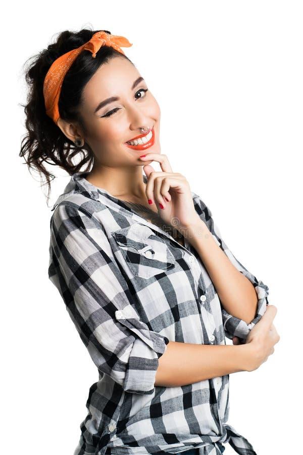 Attraktiv ung utvikningsbrud utformad flicka royaltyfria foton
