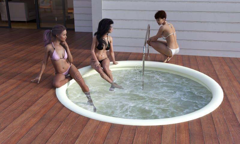 Attraktiva kvinnor som pratar bredvid ett varmt, badar vektor illustrationer