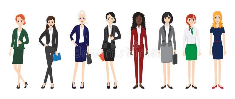 Attraktiva unga kvinnor i elegant kontorskläder royaltyfri illustrationer