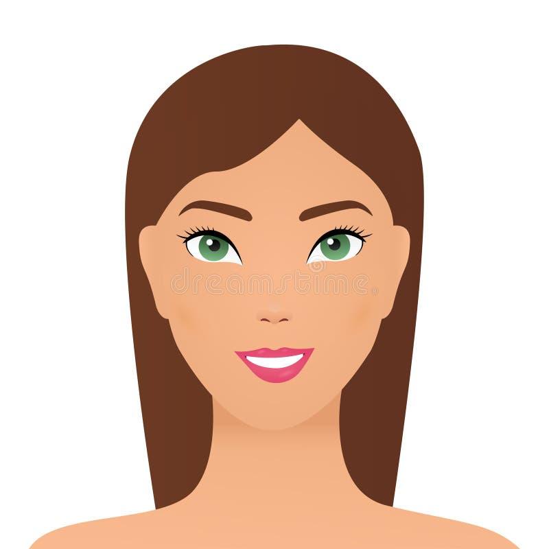 Attraktive asiatische Frau, Konzepthautpflegebild auf weißem Hintergrund Asiatisches Frauenl?cheln gl?cklich am sonnigen Sommer-  lizenzfreie abbildung
