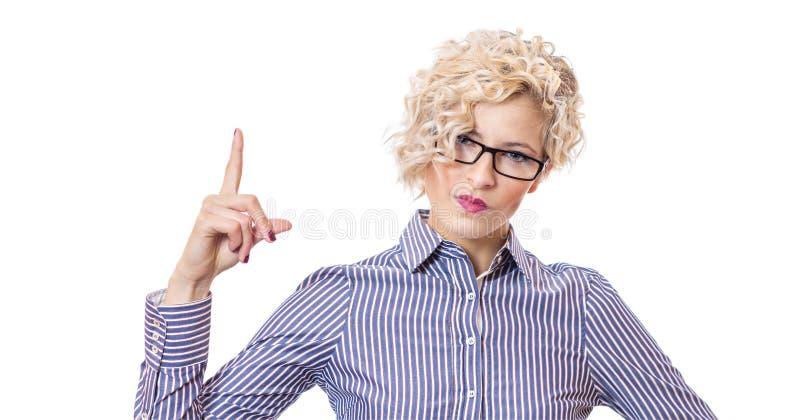 Attraktive blonde junge Geschäftsfrau lizenzfreies stockbild