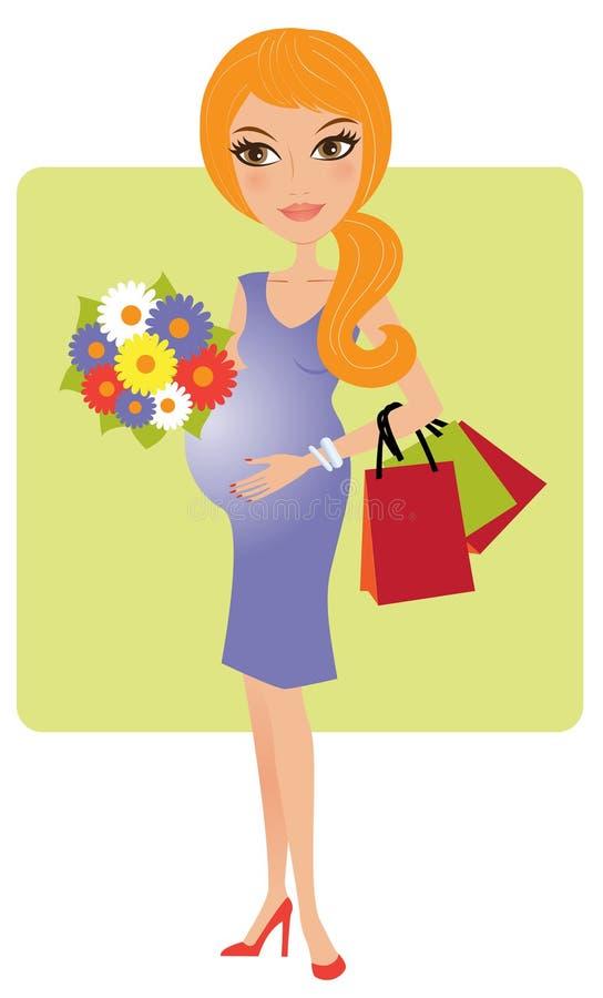 Attraktive blonde schwangere Frau lizenzfreie abbildung